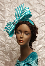Aqua Bandeau with Aqua and White Stripe Bow