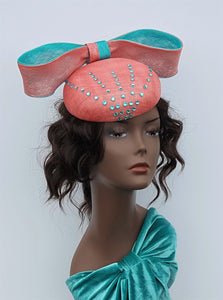 Coral and Aqua Cocktail Headpiece with Swarvoski Rhinestones