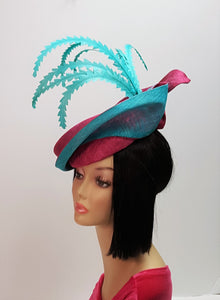 Sinamay Hatinator in Magenta and Aqua Colors