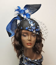 Blue and Black Cocktail Hat With Black Veiling