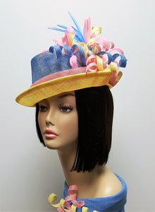 Multi Colored Sinamay Stingy Brim Hat