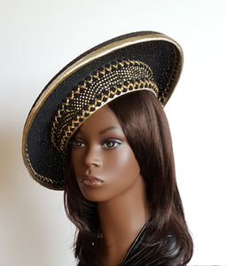 Ladies Black and Gold Spring Crown Hat