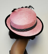 Pink and Black Spring Straw Hat