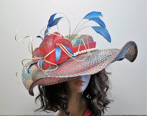 Wide Brim Multi Color Straw  Kentucky Derby Hat