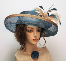 Teal Sinamay Upturn Brim Hat with Beige accent colors
