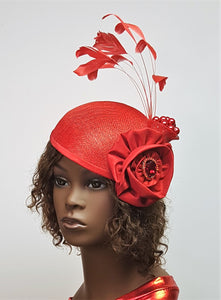 Red Sinamay Cocktail Hat