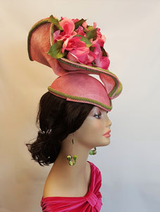Sinamay Hatinator Headpiece in Pink and Olive