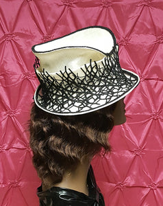 Black and Ivory Sinamay Spring Hat