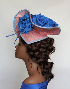 Ladies Mauve and Blue Sinamay Hatinator