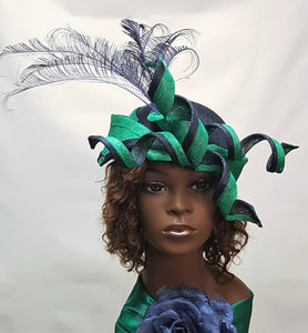Navy Blue and Green Sinamay Crown HeadPiece
