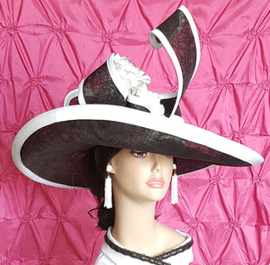 Dark Chocolate and White Sinamay Spring  Hat with Big Brim.