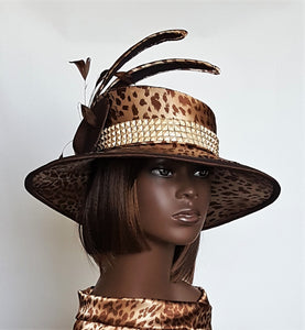 Fabric covered brown and beige Leopard Print Hat