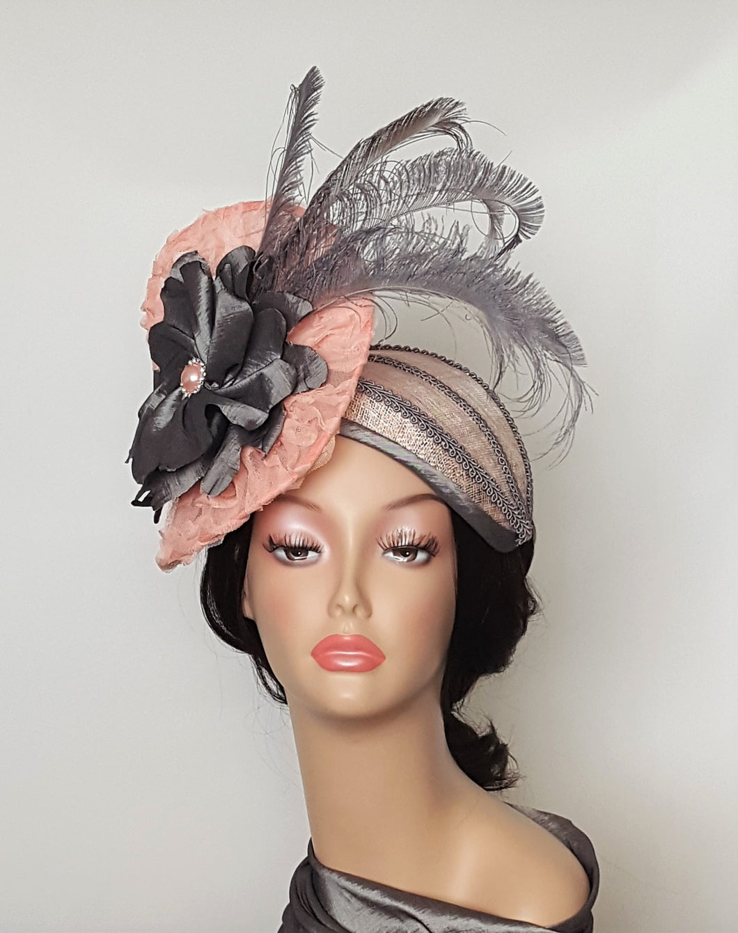 Ladies  Sinamay Cocktail Hat in Peach and Gray