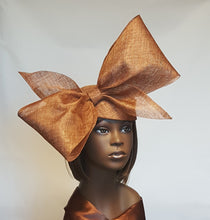 Golden Bronze Sinamay Cocktail Hat with Big Bow