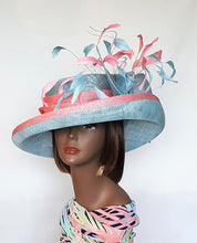 Sinamay Derby Hat with upturn Brim Baby Blue and Pink