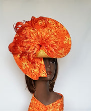 Orange and Yellow Hatinator in Sinamay and Fabric