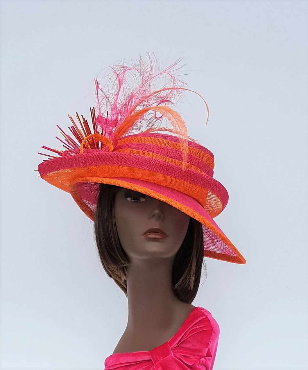 Fuchsia and Orange Sinamay Double Brim Fashion Hat