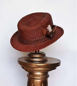 Men's Panama Cognac Color Summer Hat