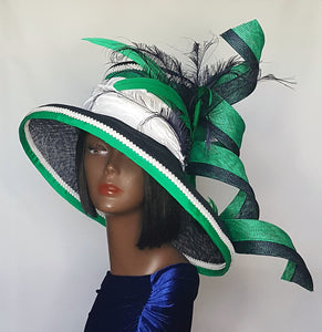 Navy, White and Green Sinamay Derby Style Hat