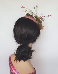 Olive and Rose Sinamay Cocktail Headpiece
