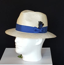 Men Cream and Royal Blue Fedora parasisal Straw Hat