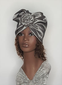 Women's Silver Gray Silk Turban Heap Wrap