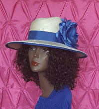 Women's Wide Brim Cream and Royal Blue Parasisal Straw hat.