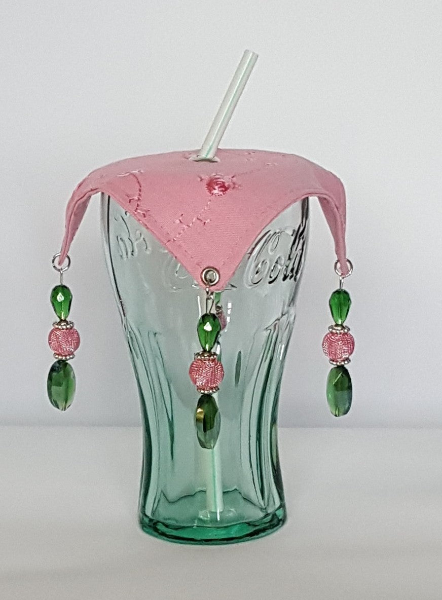 Pink and Green Wine Glass Covers  AKA theme colors