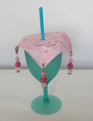 Pink Decorative Wine Glass Covers Breast Cancer Theme