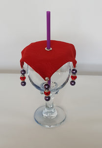 Red and Purple Wine Glass Covers  Red Hatter Theme