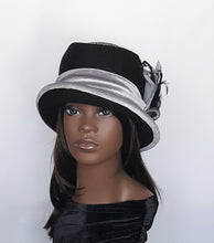 Black and Gray Wool Cloche fall winter hat