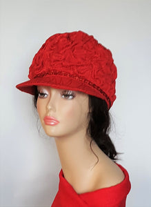 Red Fabric Stylish Casual Cap
