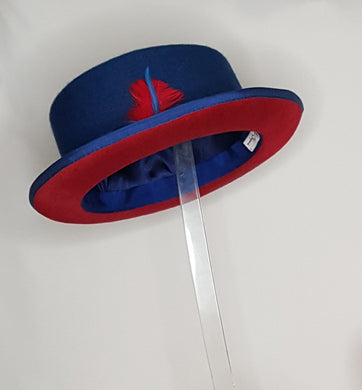 Men's  Royal Blue with Red Brim Pork Pie Hat