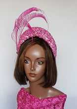 fuchsia Bandeau HeadPiece with Peacock Sword Feathers