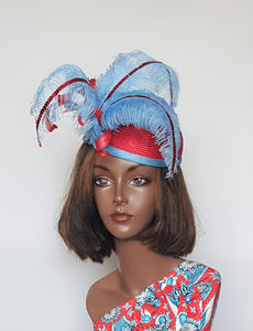 Baby Blue and Red Cocktail Hat