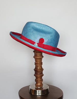 Men's Baby Blue and Red Parasisal Straw Hat