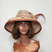 Brown and Beige Sinamay Women's Fedora Wide Brim Hat