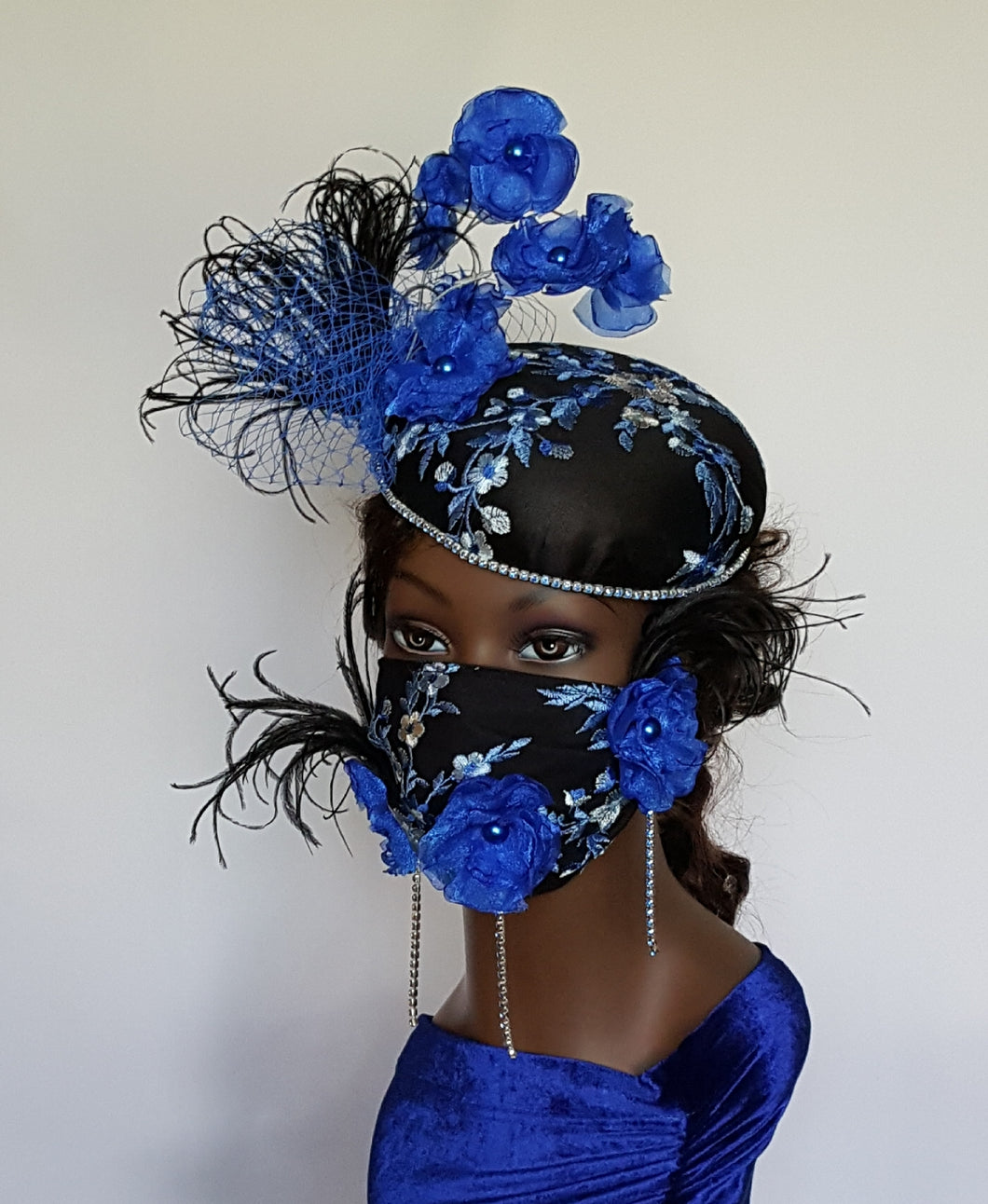 Royal Blue and Black Cocktail Hat with Matching Face Mask