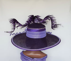 Shades of Purple Wide Brim Sinamay Bespoke Hat