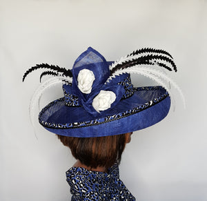 Blue Upturn Wide Brim Sinamay Hat