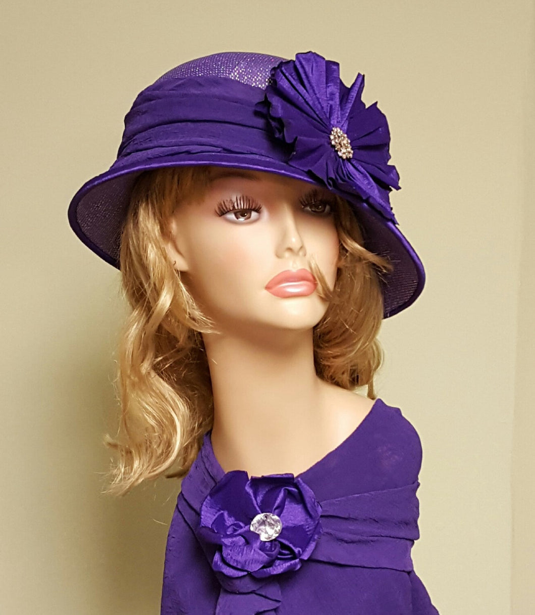 Purple Ladies Cloche Hat