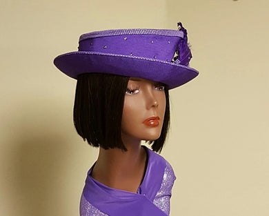 Purple Ladies Jazzy hat.