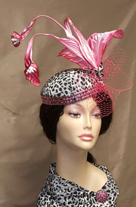 Ladies Leopard Print Cocktail Hat