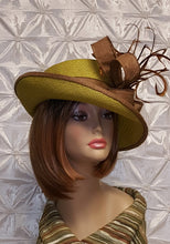 Celery Green and Beige Upturn Brim Straw Hat