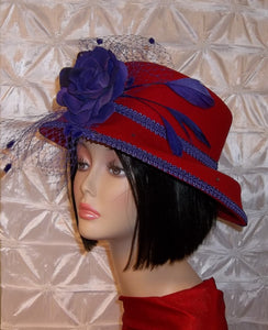 Red 100 % Wool Felt Hat Adorned with Purple Trimming