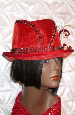 Ladies Red Jazzy Sinamay Fedora Hat