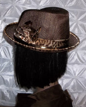 Chocolate Brown Casual Ladies Fedora with Leopard Print Trimming