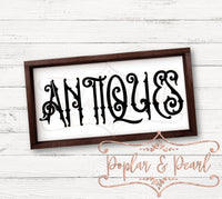Antiques Old Style Sign Cut File SVG DXF PNG