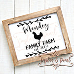 Family Sign Template Chicken SVG DXF PNG