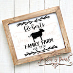 Family Sign Template Cow SVG DXF PNG